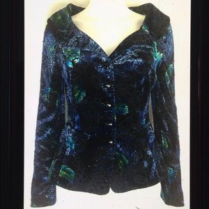 Adrianna Papell Formal Floral Beaded Button Blazer